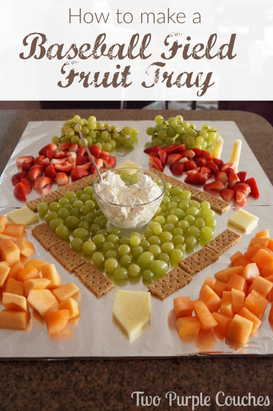 Wow your guests with this fun and clever baseball field fruit tray. Perfect for a sports themed birthday party or baby shower!
