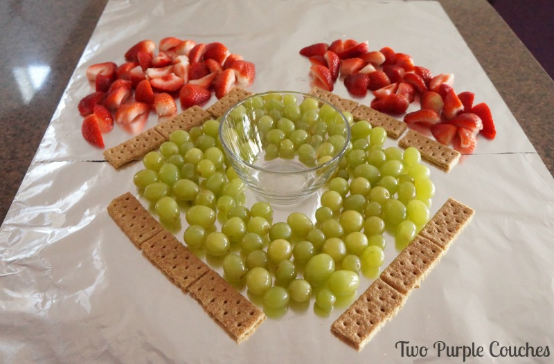 Step 3: how to make a baseball field fruit tray