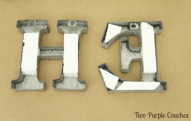 using Styrofoam to attached metal letters