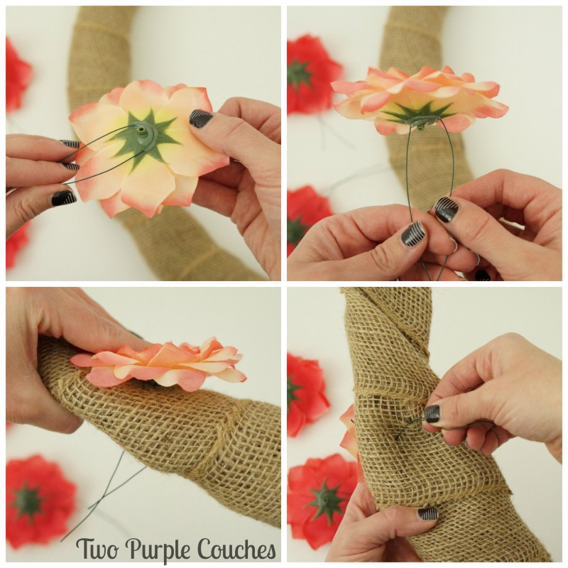 how to attach faux flowers to a burlap wreath using floral wire