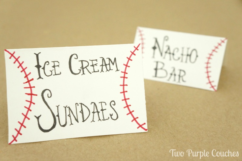 How to make baseball food labels - perfect for a baseball themed party or baby shower! Very easy how-to!