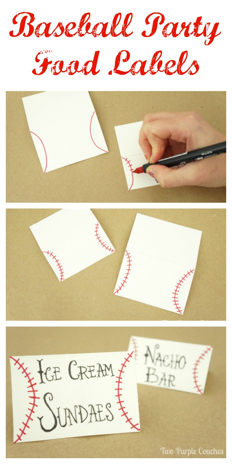 Easy step-by-step tutorial on how to make baseball food labels