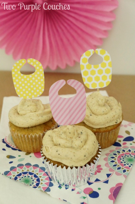 Cute baby bibs cupcake toppers for a baby shower