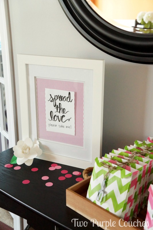 """Spread the Love"" garden-inspired seed packet bridal shower favors. Too cute!"