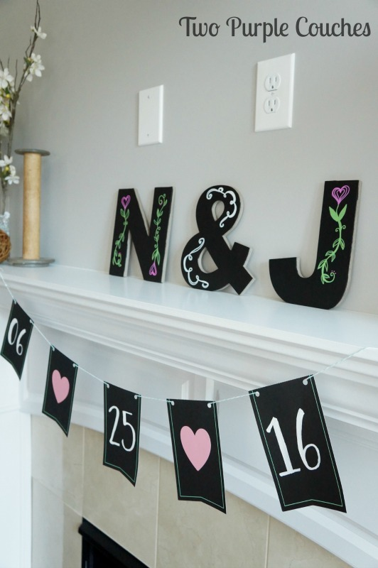 Pretty DIY chalkboard letters and banner for a garden party bridal shower