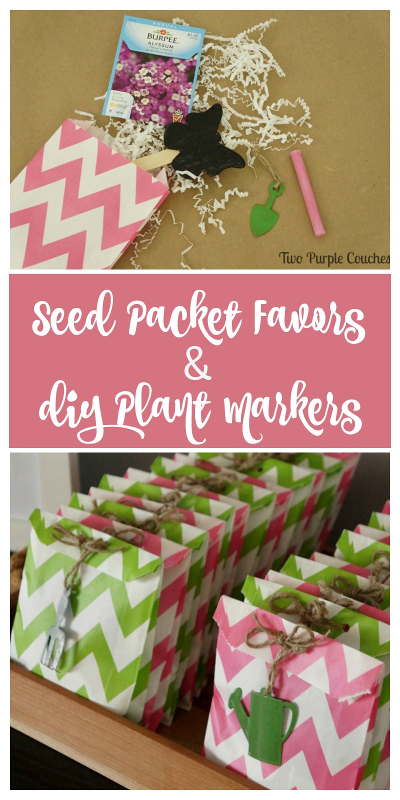 How to make chalkboard plant markers to include in seed packet favors for a bridal shower or wedding. Tutorial included!