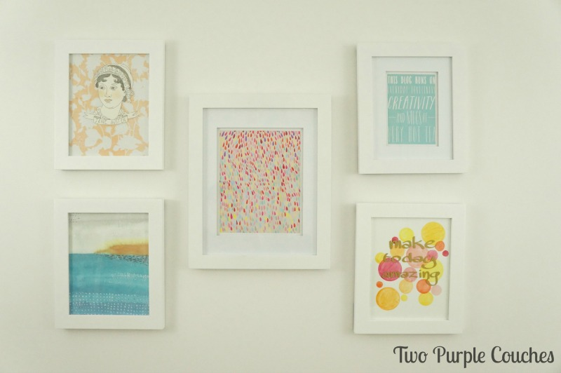 Craft room artwork - creating a simple gallery wall of bold, colorful prints