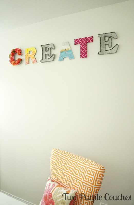 Colorful craft room artwork - word art crafts