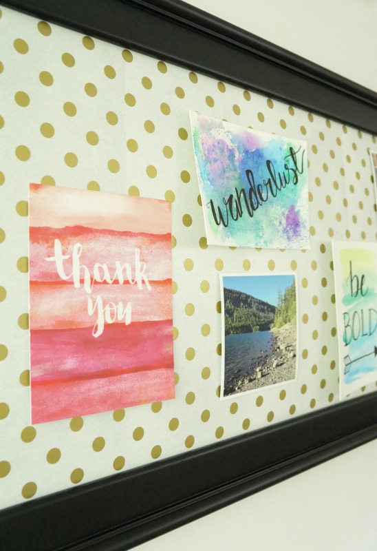 Details of DIY craft room magnetic memo board