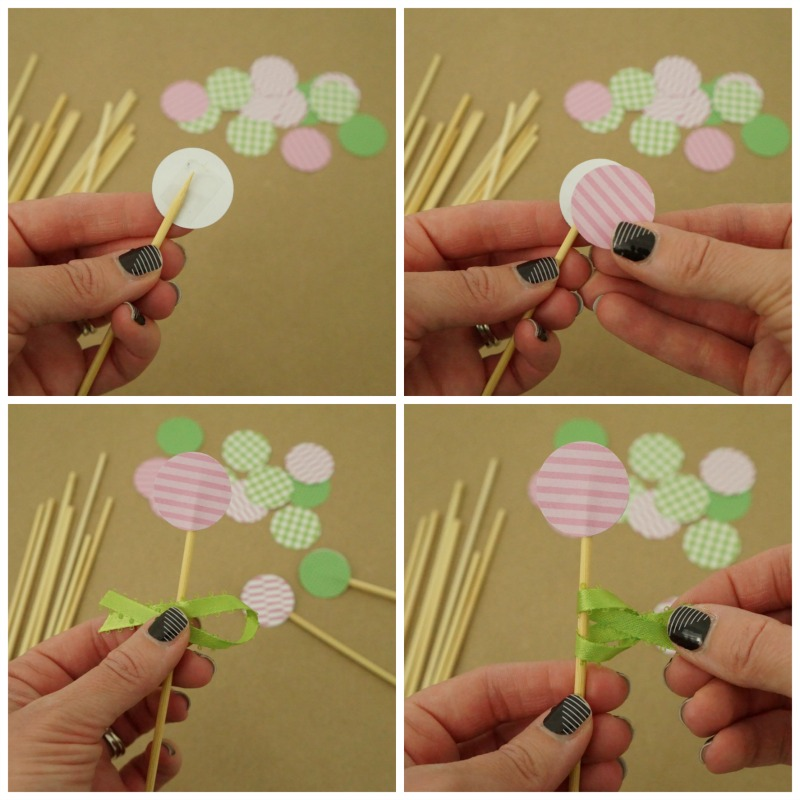 Learn how to make these cocktail stirrers using paper, ribbon and bamboo skewers. These are perfect party accessories for a shower, birthday or engagement party!