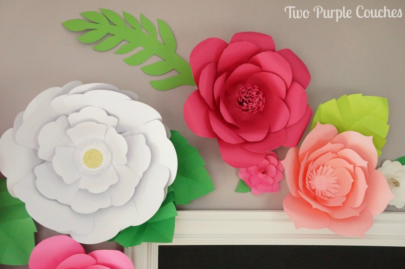 Diy Giant Paper Flower Backdrop Two Purple Couches