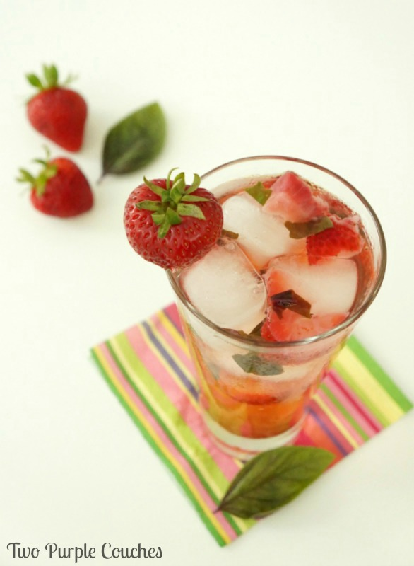 Strawberry Basil Sparklers - a light and refreshing summer cocktail made with strawberry vodka, berry-flavored sparkling water and fresh fruit.