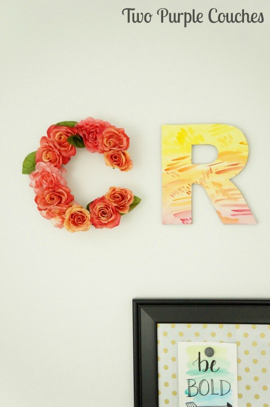 Make your own pretty watercolor letter wall decor following this simple tutorials. These letters and monograms are perfect for a bedroom or home office.