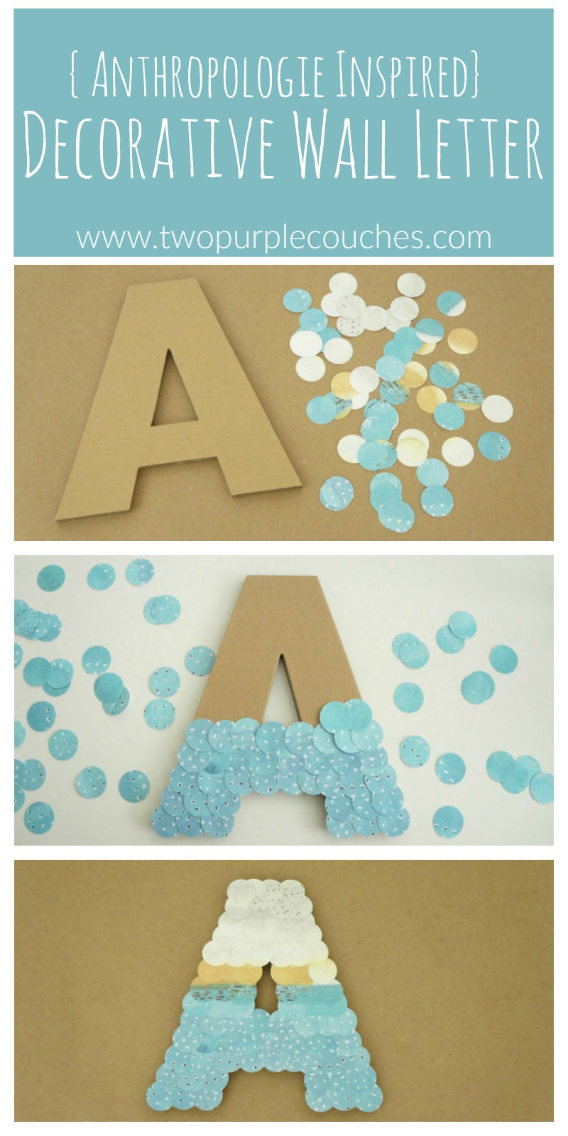 Unique and creative Anthropologie Inspired Wall Letter craft is perfect for home decor or monogram art or decor in a craft room or kid's bedroom.