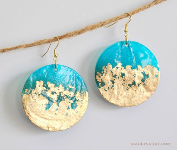 DIY Gold Gilded Earrings from Made in a Day
