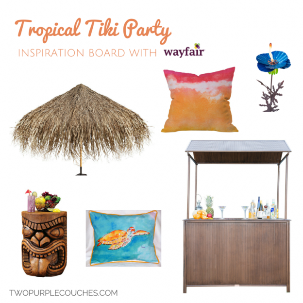 Tropical Tiki Party Inspiration Board with Wayfair