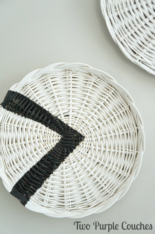 Tribal Painted Wicker Chargers / Transform thrifted wicker plates with paint - this easy DIY idea adds a tribal touch to plain wicker charger plates.
