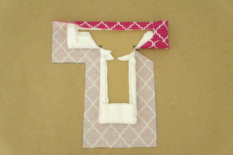 Fabric Covered Letters - Wrapping craft letter with fabric