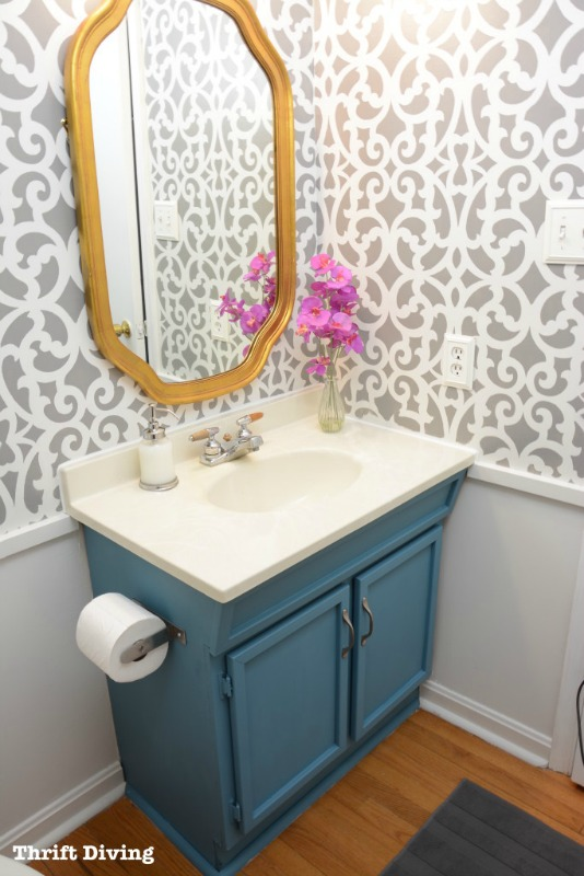 Small-Gray-Bathroom-Makeover-AFTER-Thrift-Diving-blog-683x1024