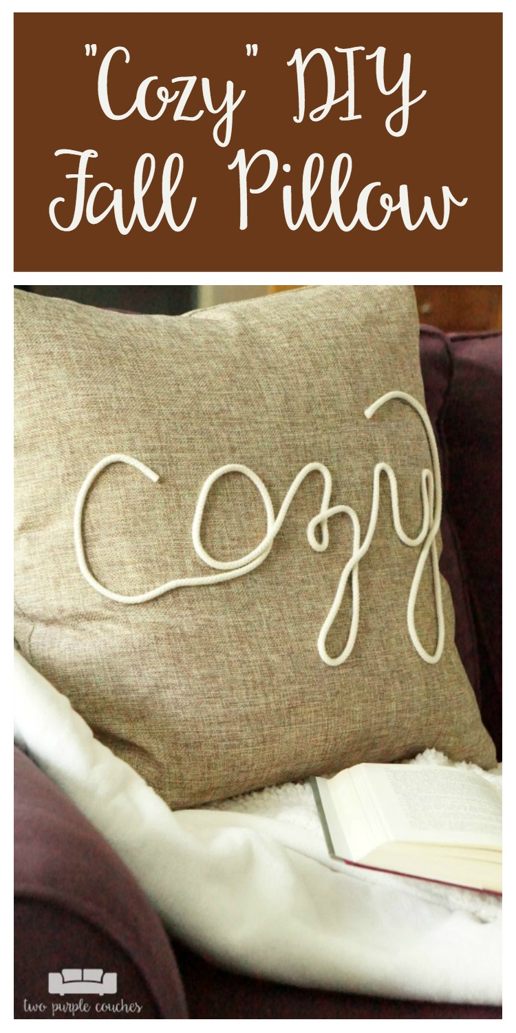 """Create your own """"cozy"""" DIY fall pillow cover with this simple technique using rope trim and hot glue! This idea is perfect for fall or winter decorating!"""