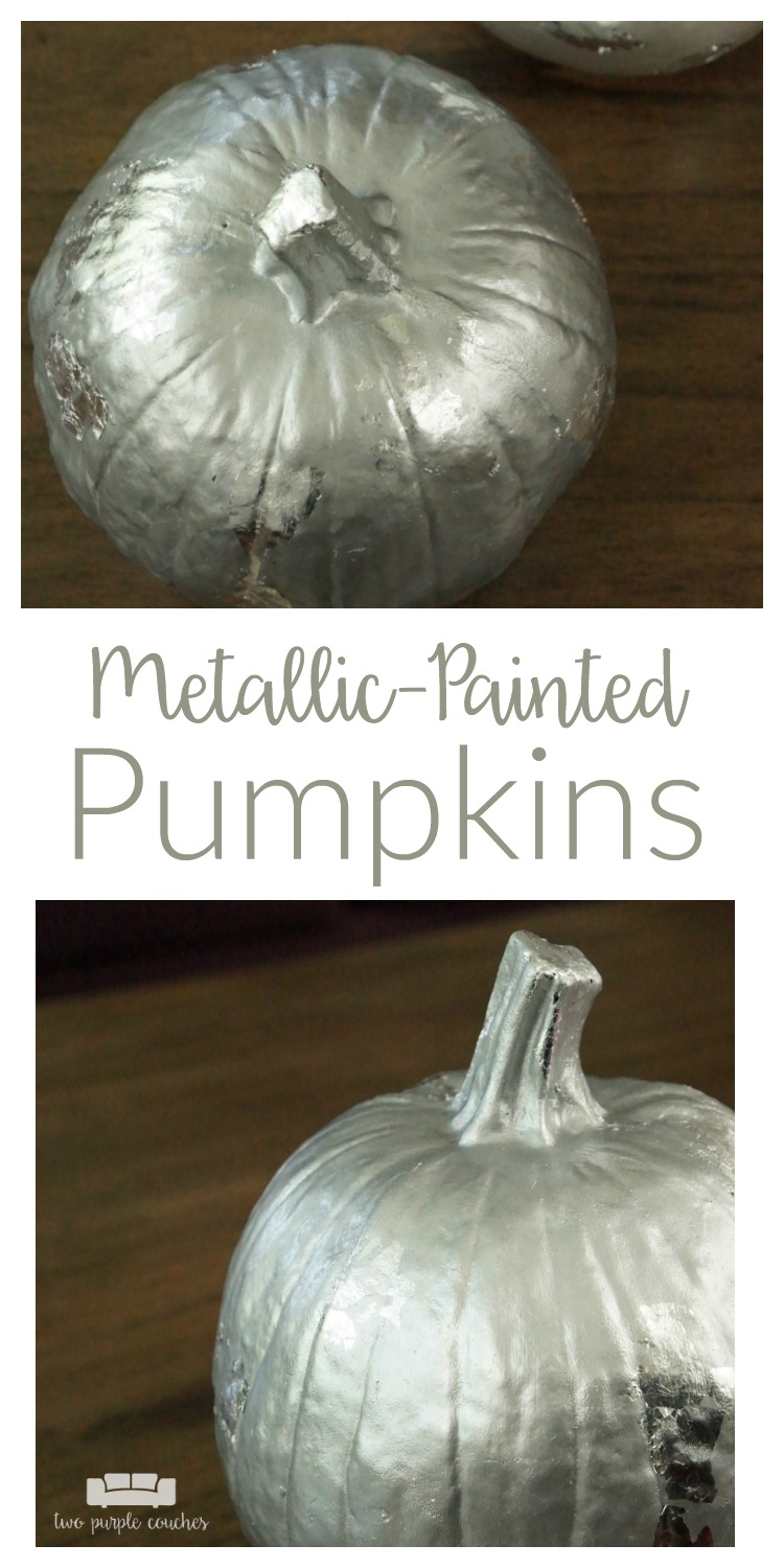 Glam up your fall decorating with metallic painted pumpkins. These are so simple to make yourself. Add extra shimmer and shine with silver gilding.