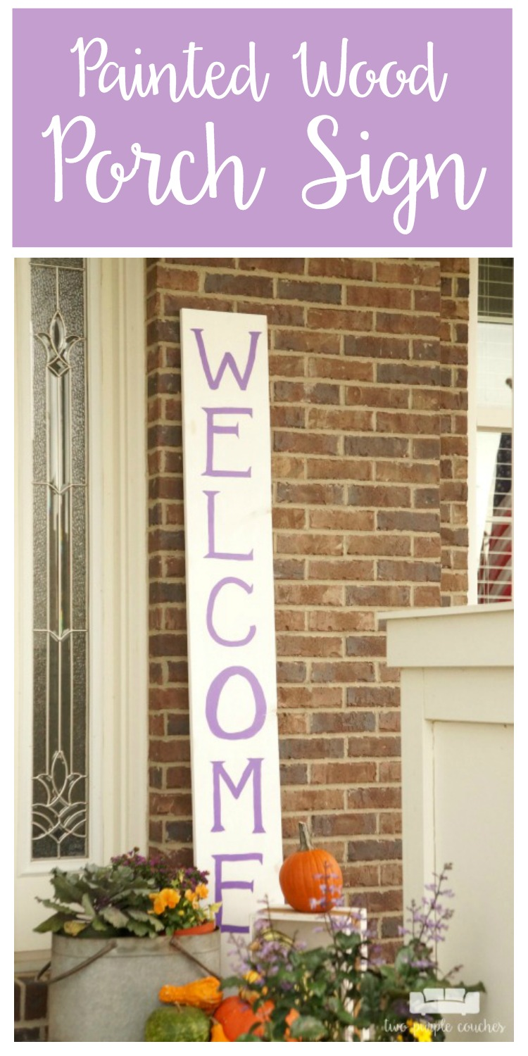 Learn how easy it is to make your own large porch sign and create a warm welcome for guests. Love how this looks and it's so easy to customize!