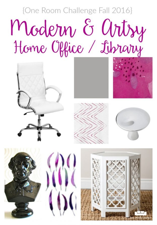 Take a peek at our home office design plans! It's Week 2 of the One Room Challenge and I'm sharing inspiration ideas for a modern, chic home office.