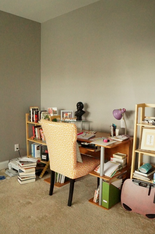 Home Office Makeover: turning a builder-grade study into a modern, organized and colorful office and home library for the Fall 2016 One Room Challenge.