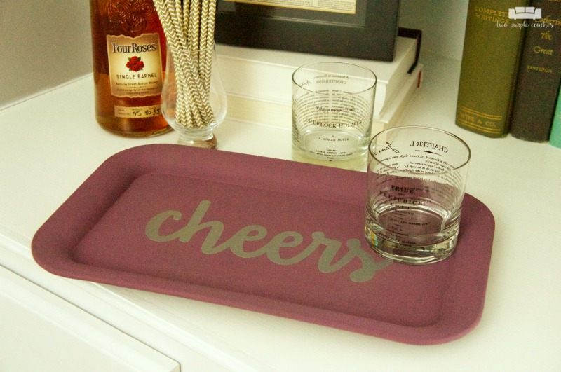 """Cheers"" DIY Bar Tray Idea / Makeover a thrifted metal tray with paint and a vinyl decal to turn it into a chic, modern mini bar tray for your home."