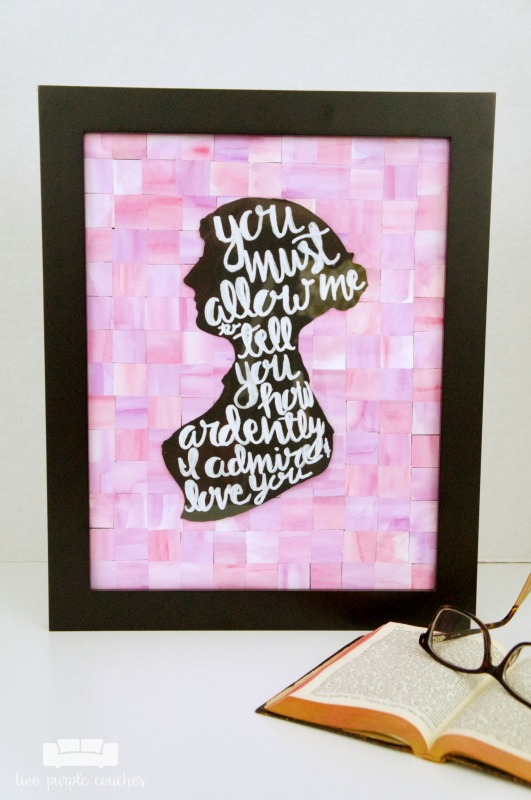Pay tribute to your favorite author this Valentine's Day! Jane Austen Silhouette Art featuring Darcy's famous quote from Pride and Prejudice.