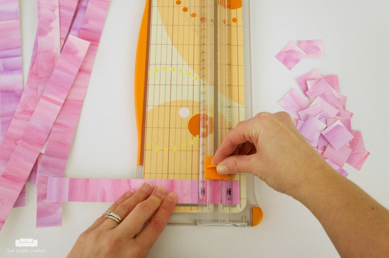 cutting watercolor strips for abstract art