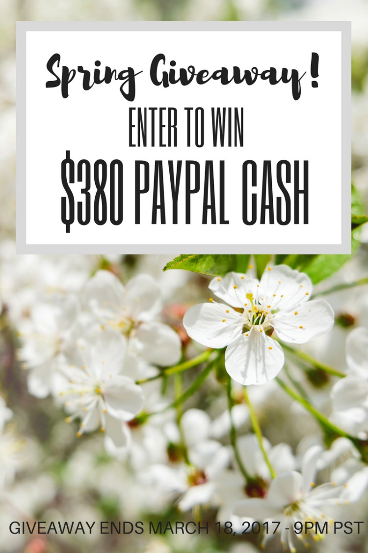 Win some extra green this Spring! Enter our special Spring Giveaway now through November 18, 2017 for the chance to win $380 in Paypal cash!