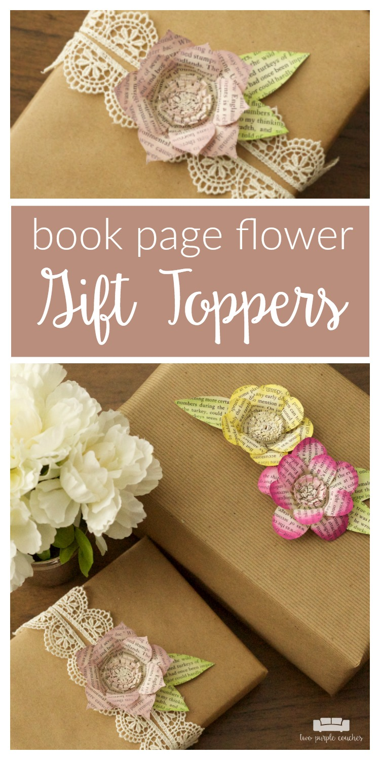 Make your gifts extra special with these DIY book page flower gift toppers - perfect for bridal shower gifts, Mother's Day gifts, and birthday gifts!