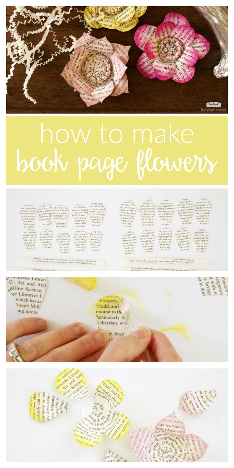 How to make book page flowers tutorial / Easy DIY book page flowers - a perfect crafts idea for upcycling old or vintage books in fun new ways.
