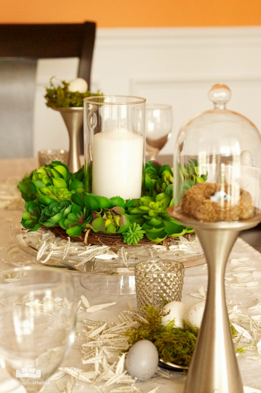 Modern Rustic Spring Tablescape - DIY ideas for casual modern rustic spring table. Set a beautiful spring table with simple decor and natural elements.