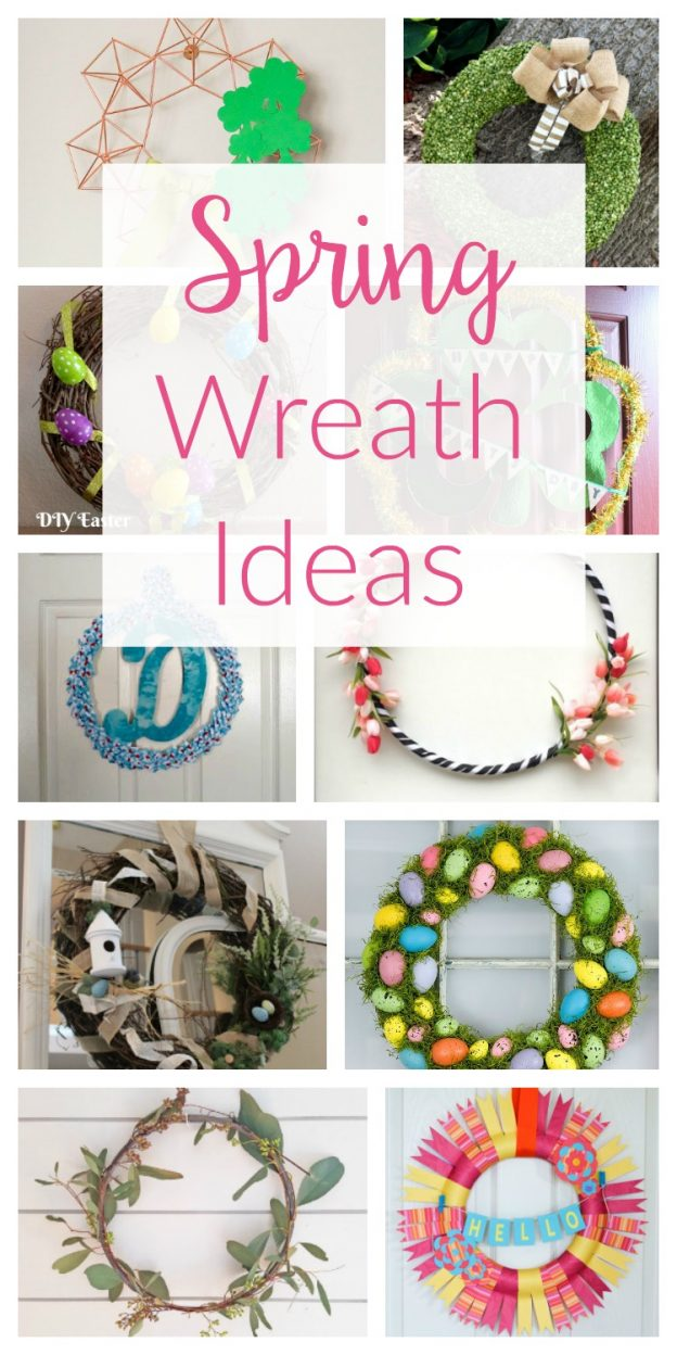 Brighten up your front door with one of these gorgeous Spring wreath ideas! So many pretty DIY wreaths you can make yourself!