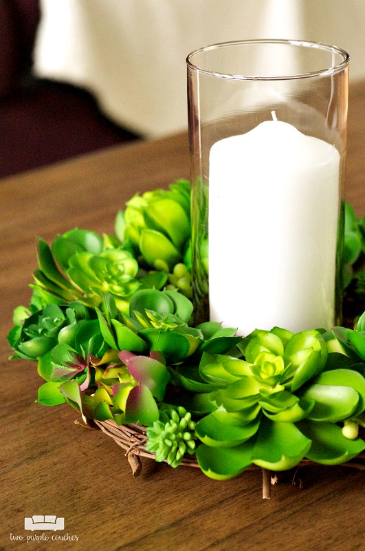 How to create a simple DIY faux succulent centerpiece. I love this decorating idea for creating a modern-rustic Spring table & it's easy to make, too!