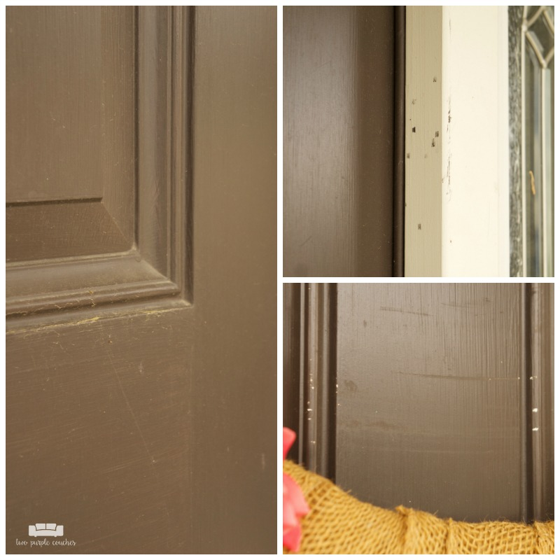 Scratches, dents and dings in builder-grade front door.