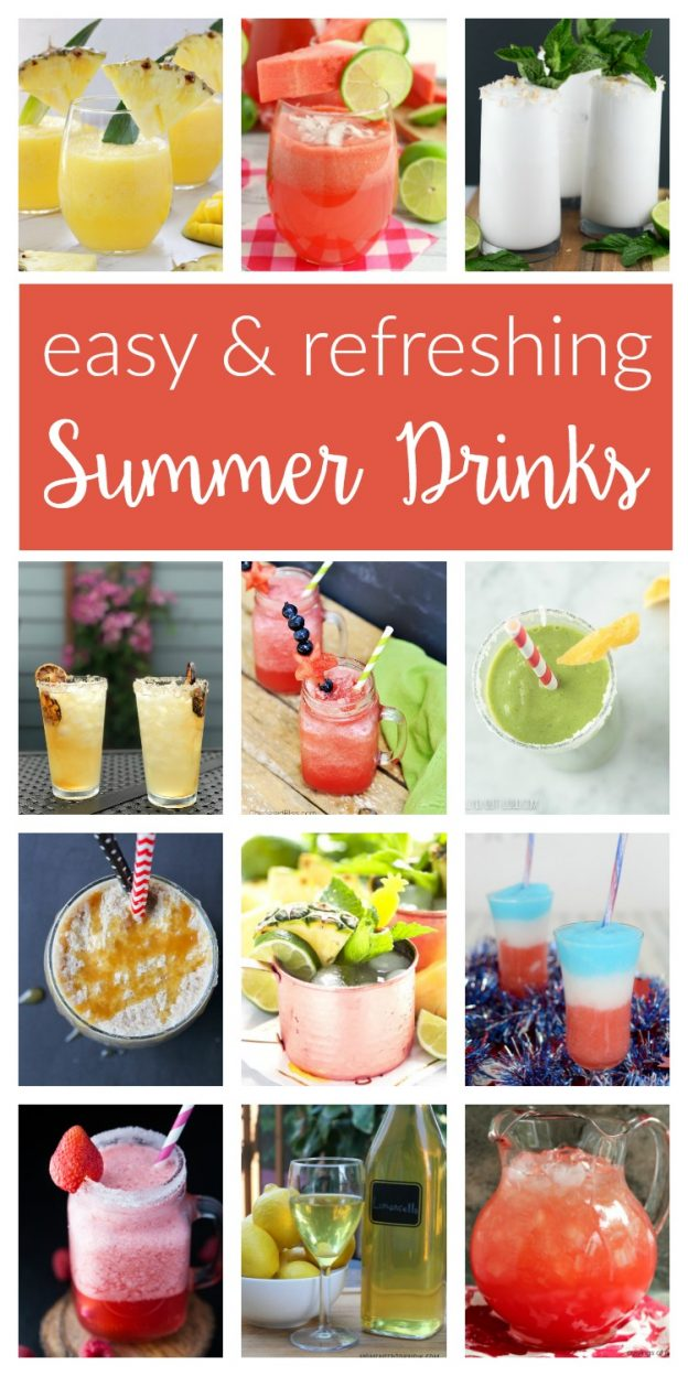 These refreshing summer drinks will hit the spot on hot days! Fun, easy drink recipes - frozen cocktails for adults and non-alcoholic options the kids!