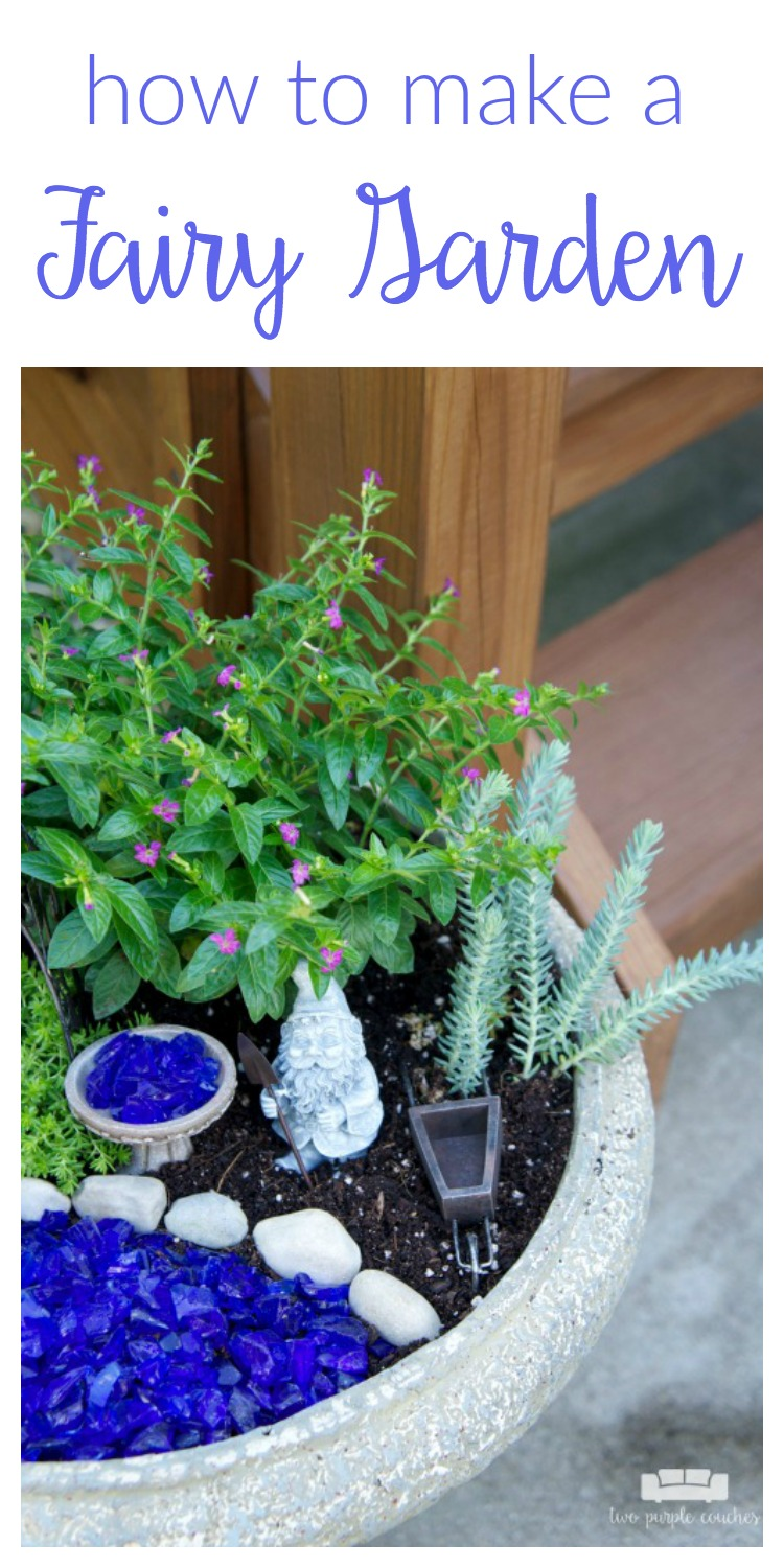 How to make a fairy garden two purple couches - How to make a fairy garden container ...