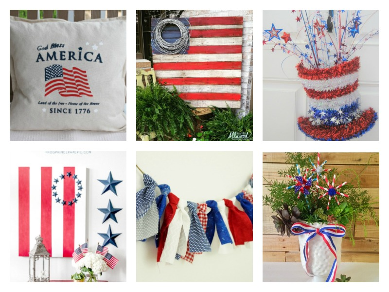 Deck your halls in red, white and blue! Lots of DIY patriotic home decor ideas and projects for 4th of July! Celebrate the USA! Rustic Americana style