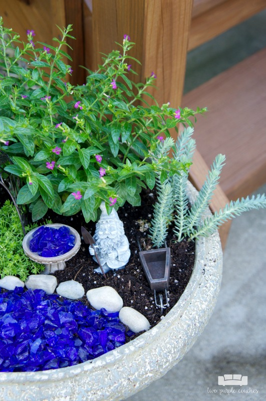 How to make a fairy garden two purple couches for How to make a fairy garden container