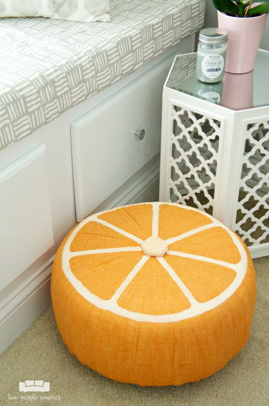 DIY Fruit Slice Pouf / How cute is this!? This fun, trendy and colorful ottoman is sure to make a splash in your home decor this summer!