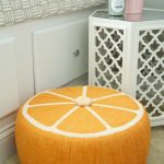 How to make a DIY Fruit Slice Pouf with a Fairfield Tuffet Kit. Fun and on-trend home decor idea. Sponsored.