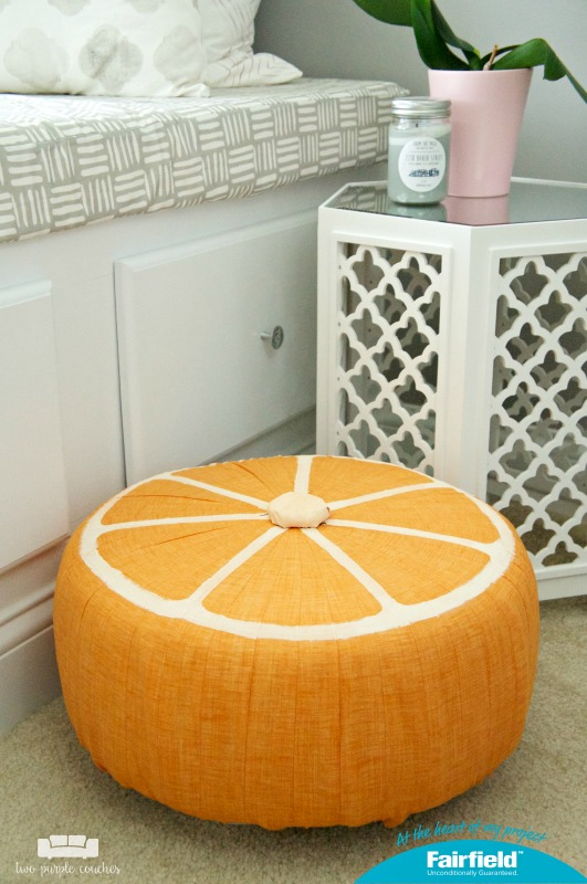 How to make a DIY Fruit Slice Pouf. Fun and on-trend home decor idea. Sponsored.