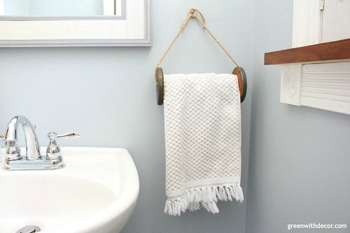 DIY towel rack from vintage wood spool