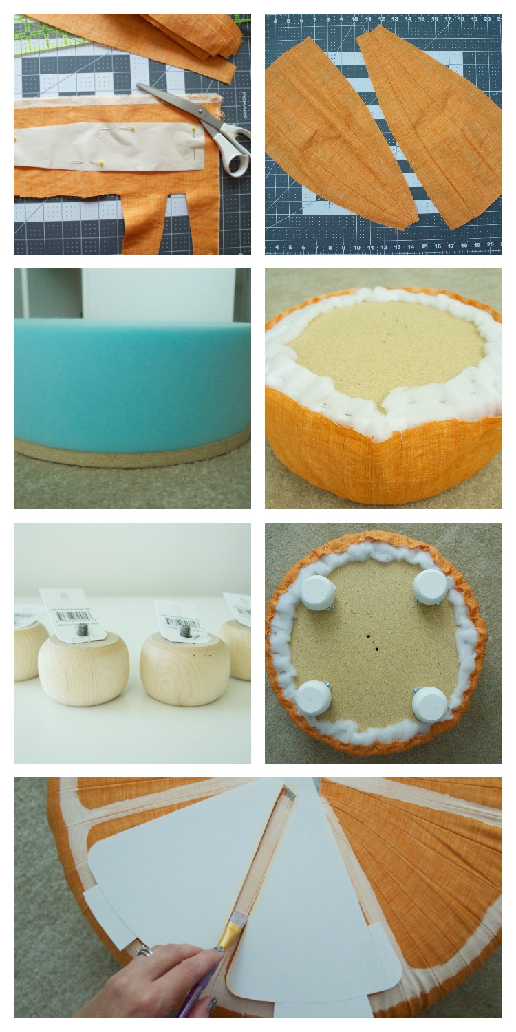 How to make a fruit slice pouf from a Fairfield tuffet kit