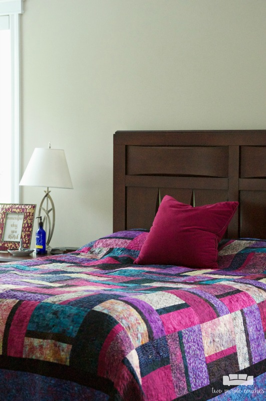 A colorful, cozy spot to lay your head down. Master bedroom tour.