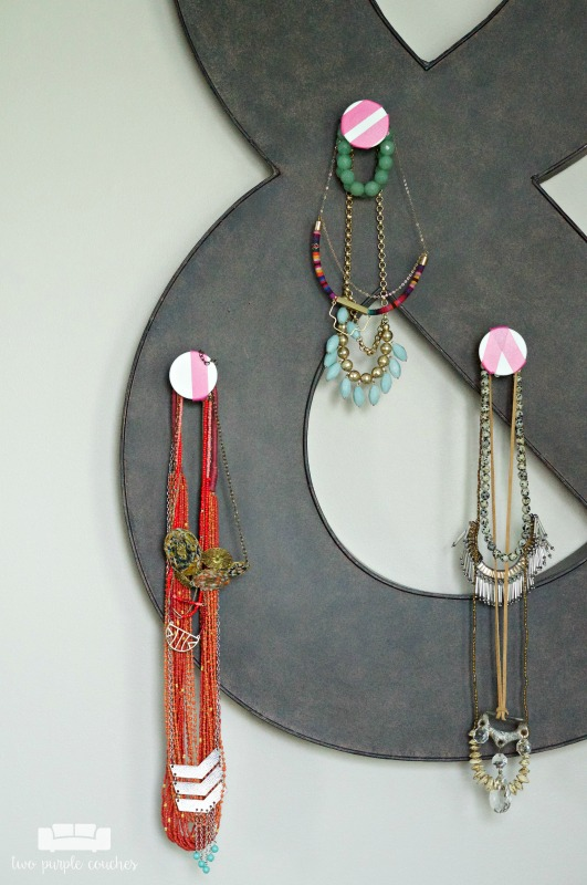 Magnetic jewelry display idea in this modern eclectic master bedroom tour