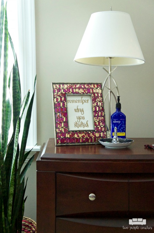 Simple nightstand decor in this master bedroom tour